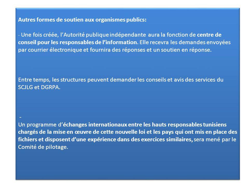 Autres formes de soutien aux organismes publics: - Une fois créée, l'Autorité publique indépendante aura la fonction de centre de conseil pour les responsables de l'information.