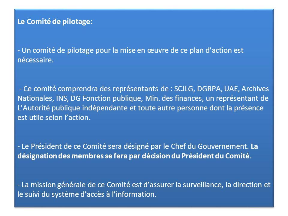 Le Comité de pilotage: - Un comité de pilotage pour la mise en œuvre de ce plan d'action est nécessaire.