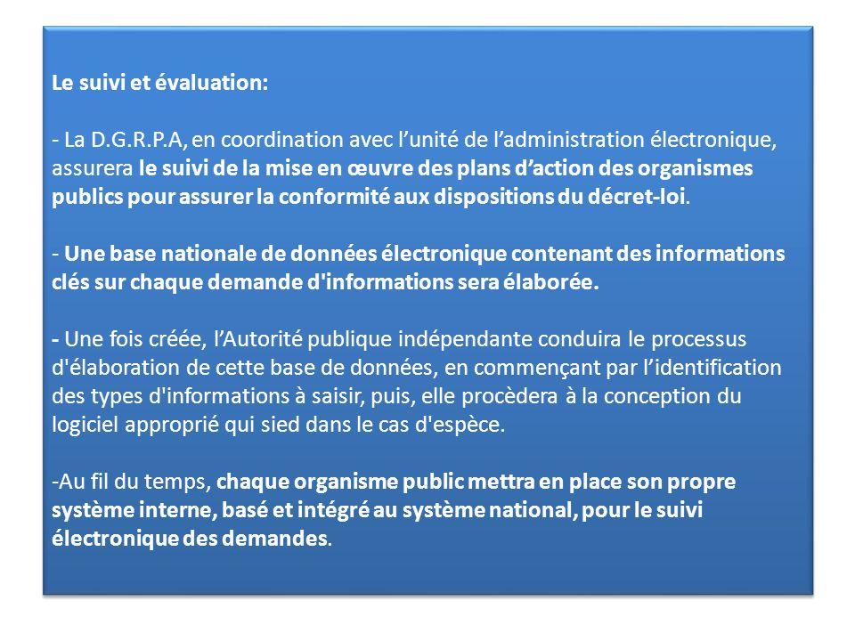 Le suivi et évaluation: - La D. G. R. P