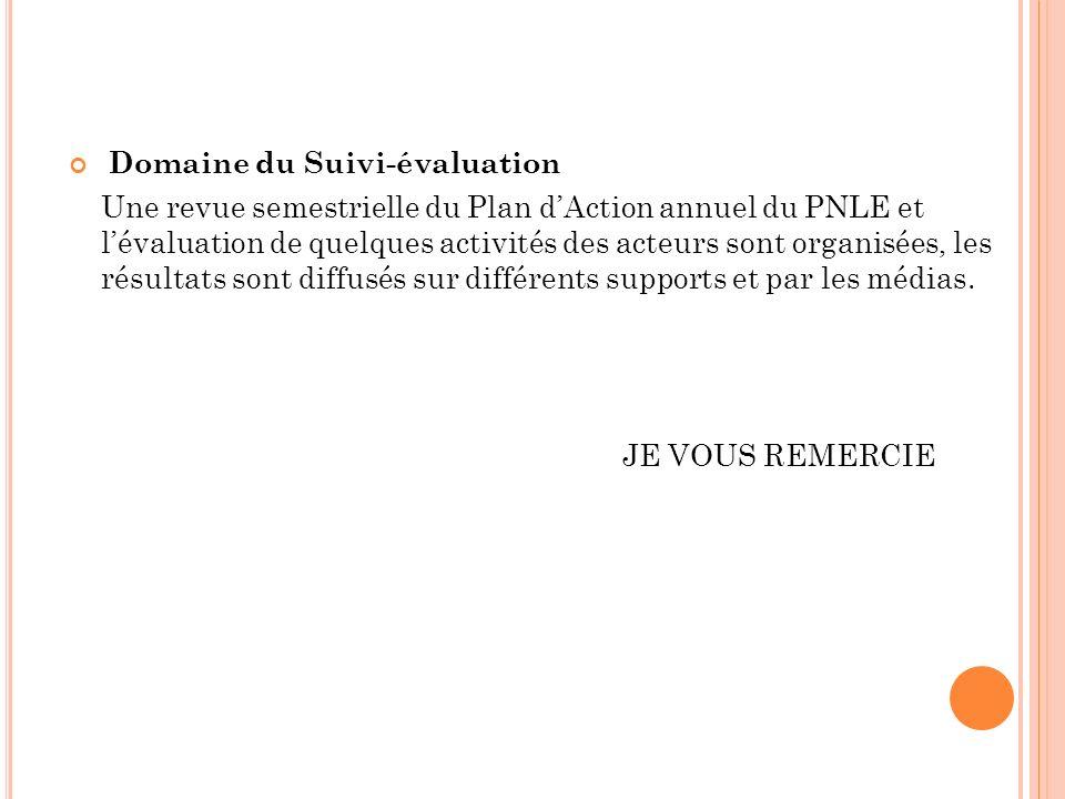 Domaine du Suivi-évaluation
