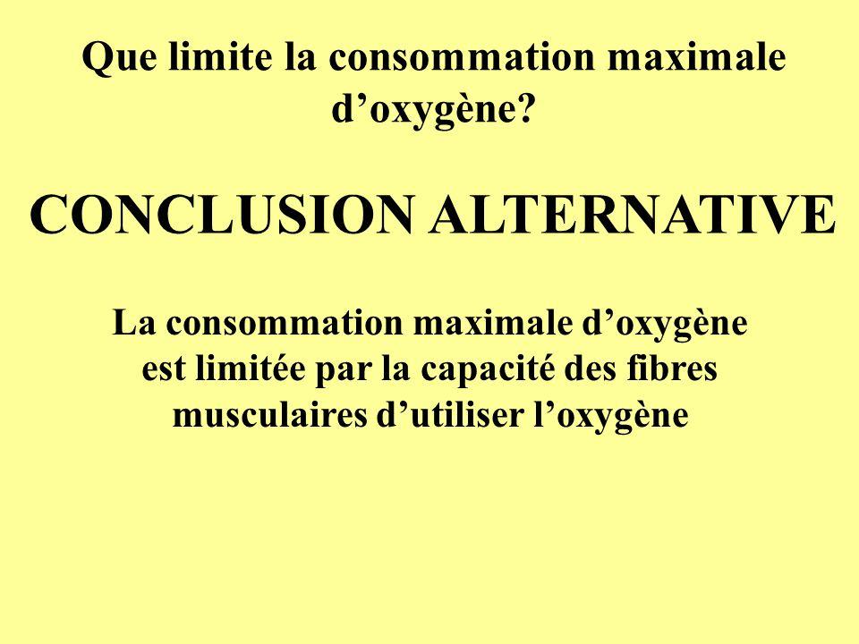 Que limite la consommation maximale d'oxygène