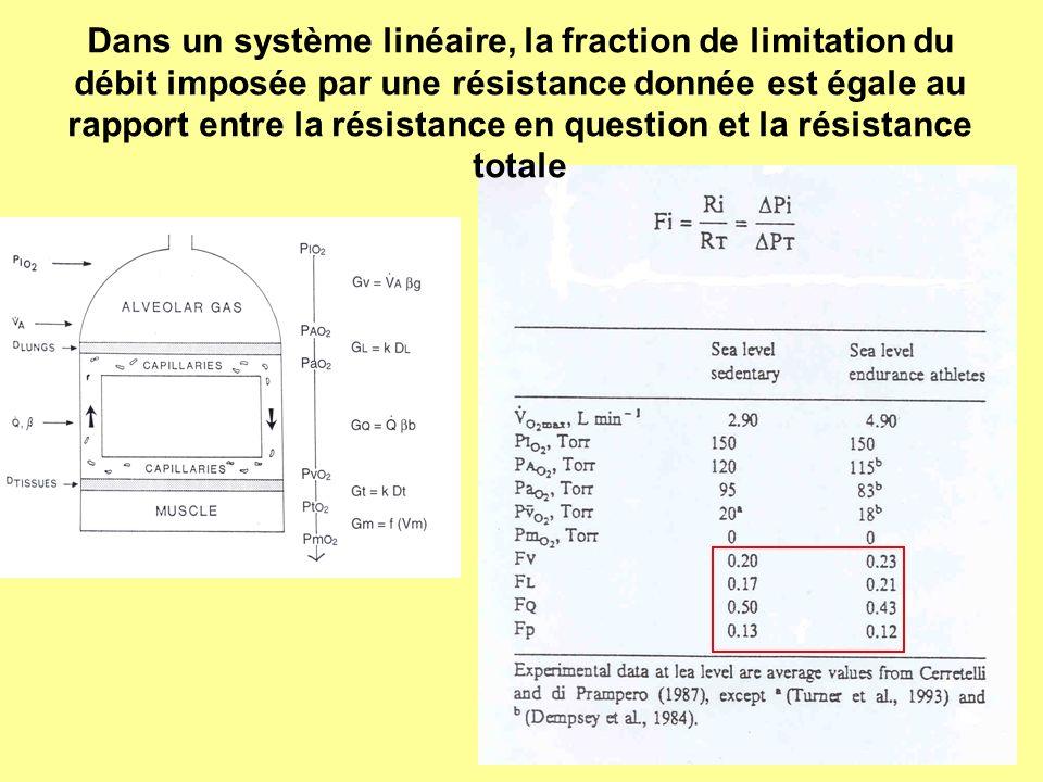 Dans un système linéaire, la fraction de limitation du débit imposée par une résistance donnée est égale au rapport entre la résistance en question et la résistance totale