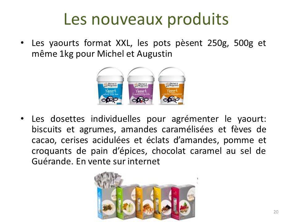 Les nouveaux produits Les yaourts format XXL, les pots pèsent 250g, 500g et même 1kg pour Michel et Augustin.