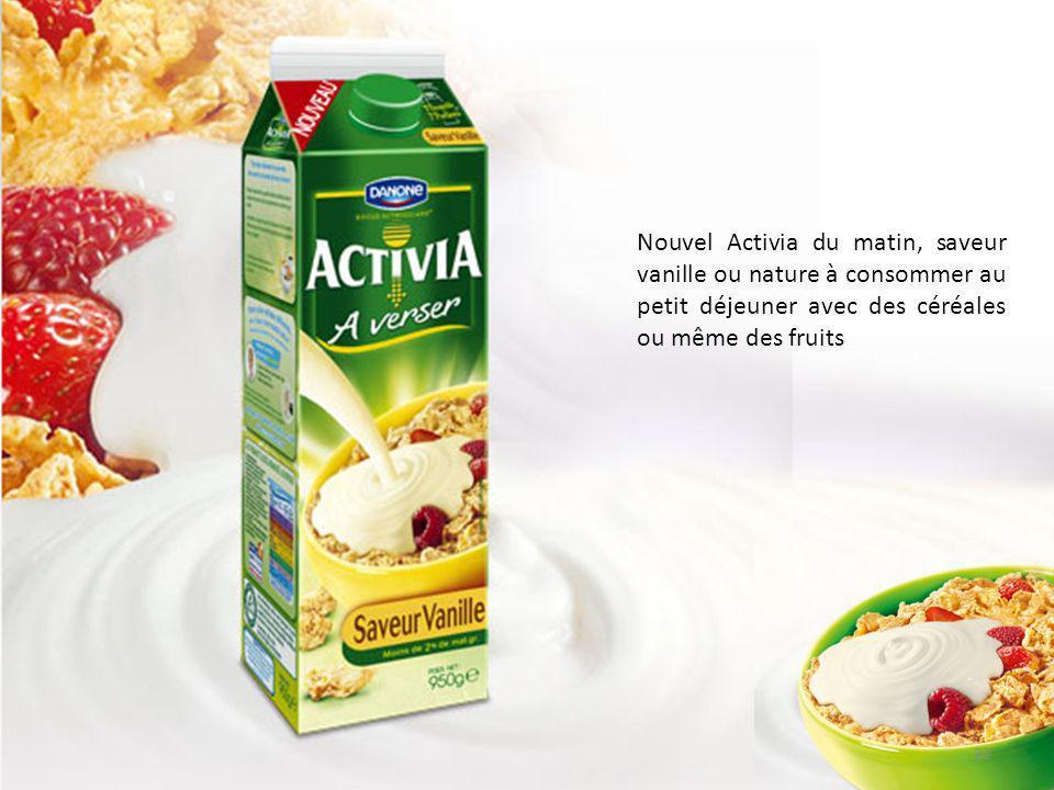 Nouvel Activia du matin, saveur vanille ou nature à consommer au petit déjeuner avec des céréales ou même des fruits