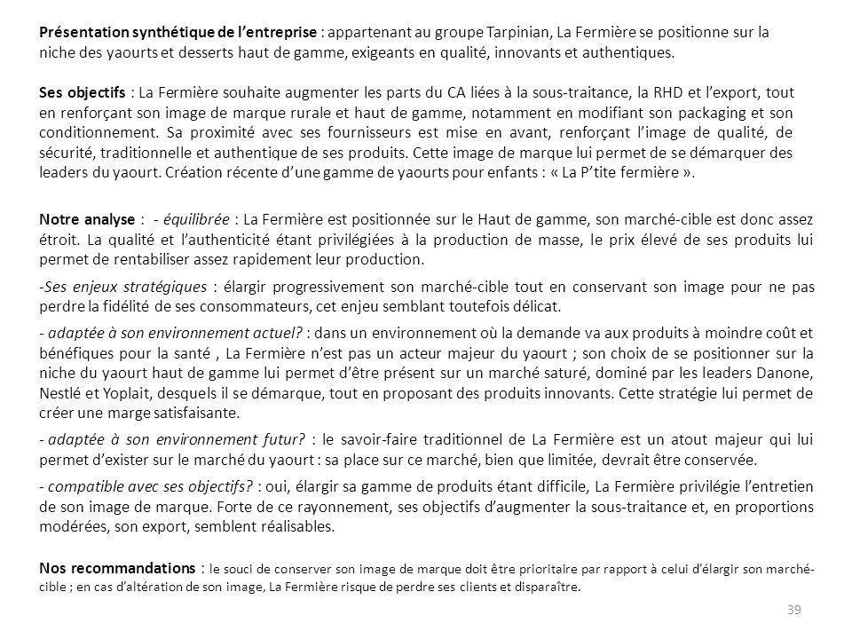 Présentation synthétique de l'entreprise : appartenant au groupe Tarpinian, La Fermière se positionne sur la niche des yaourts et desserts haut de gamme, exigeants en qualité, innovants et authentiques.