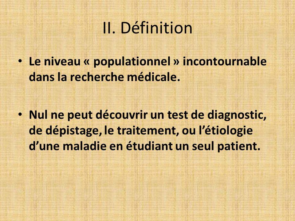 II. Définition Le niveau « populationnel » incontournable dans la recherche médicale.