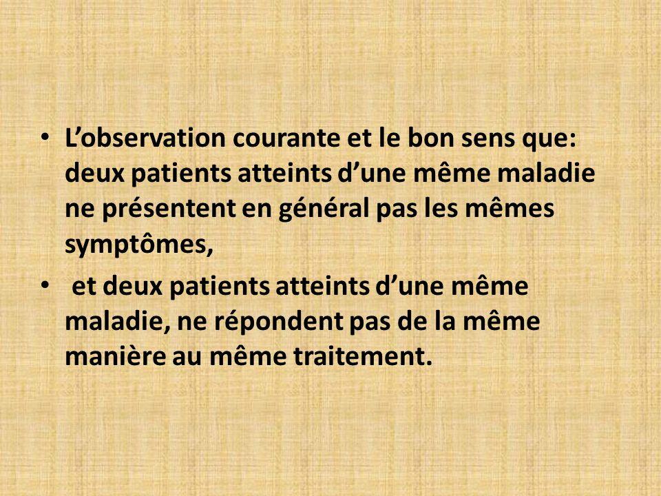 L'observation courante et le bon sens que: deux patients atteints d'une même maladie ne présentent en général pas les mêmes symptômes,