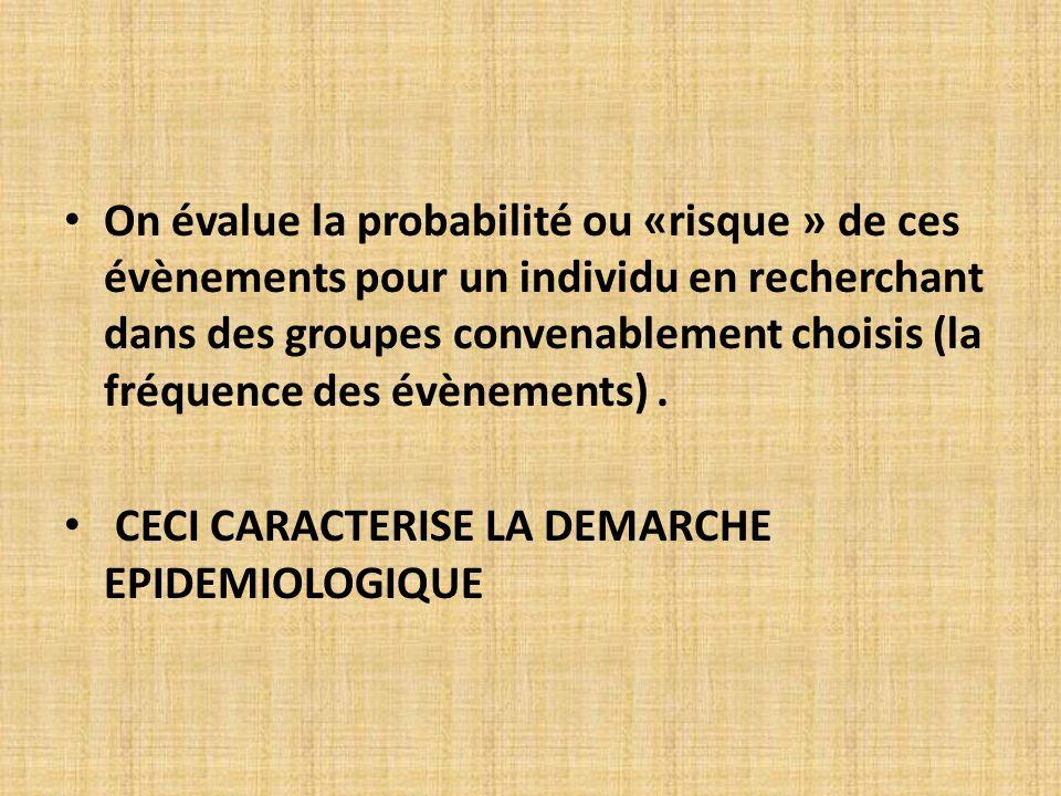 On évalue la probabilité ou «risque » de ces évènements pour un individu en recherchant dans des groupes convenablement choisis (la fréquence des évènements) .