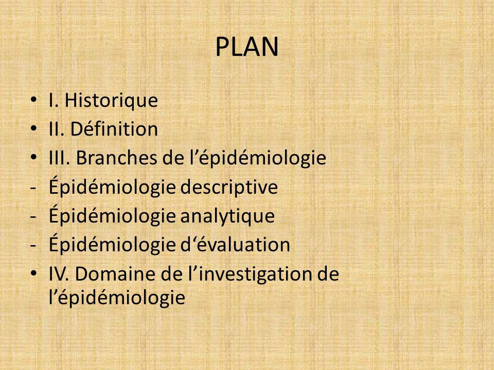 PLAN I. Historique II. Définition III. Branches de l'épidémiologie