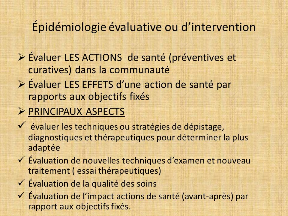 Épidémiologie évaluative ou d'intervention