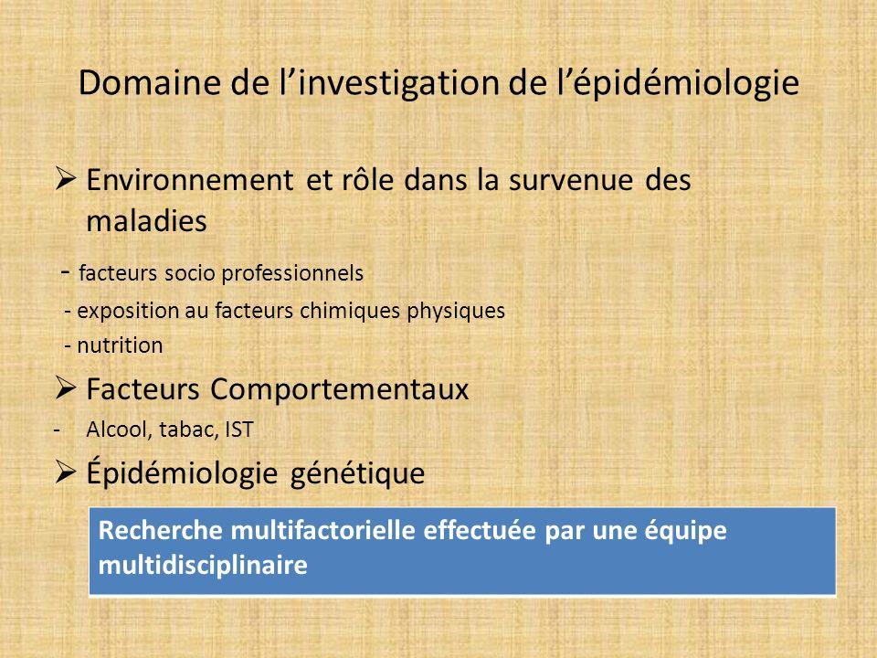 Domaine de l'investigation de l'épidémiologie