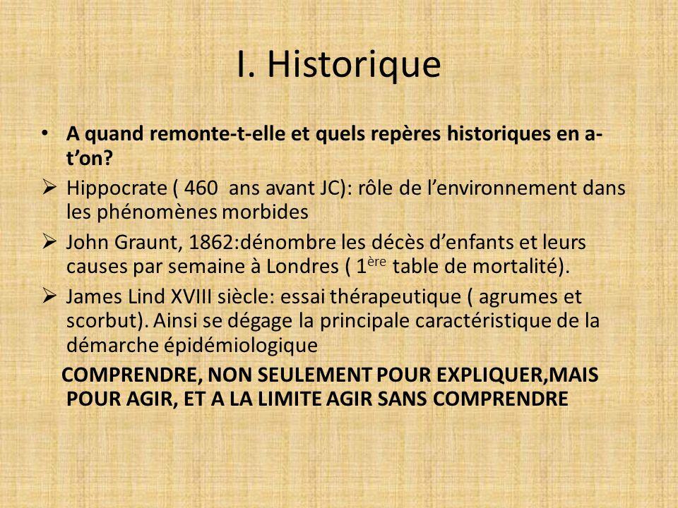 I. Historique A quand remonte-t-elle et quels repères historiques en a-t'on