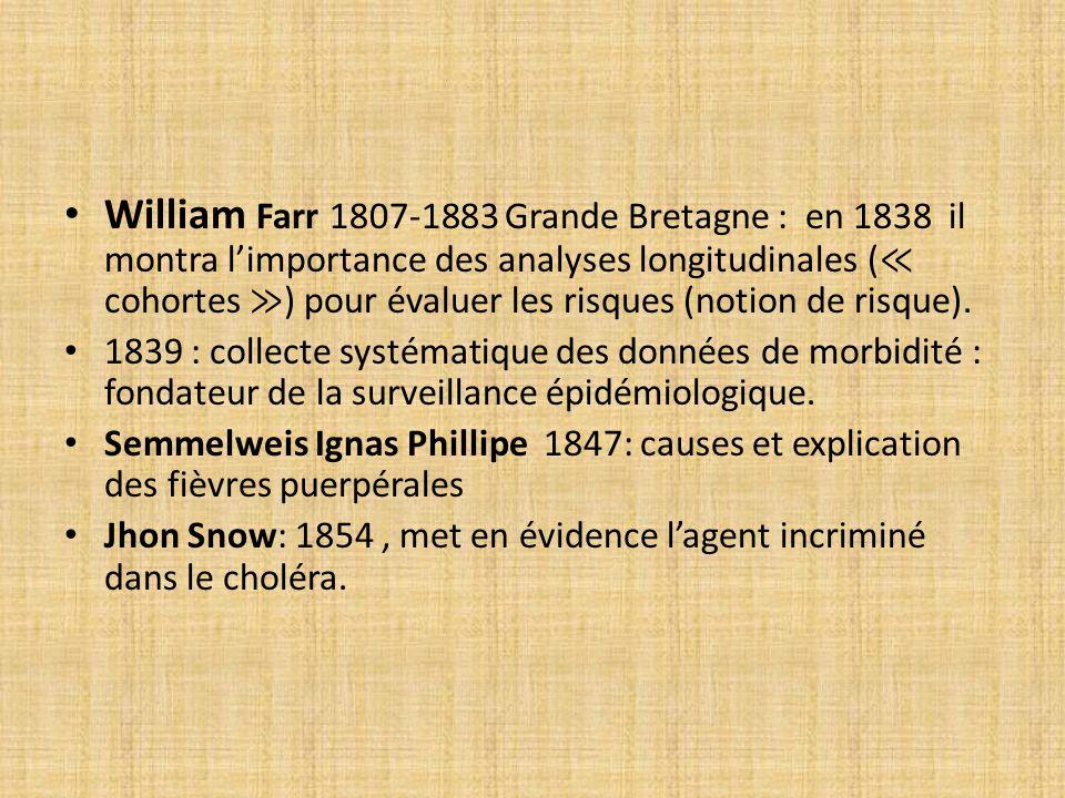William Farr 1807-1883 Grande Bretagne : en 1838 il montra l'importance des analyses longitudinales (≪ cohortes ≫) pour évaluer les risques (notion de risque).