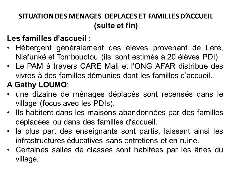 SITUATION DES MENAGES DEPLACES ET FAMILLES D'ACCUEIL (suite et fin)