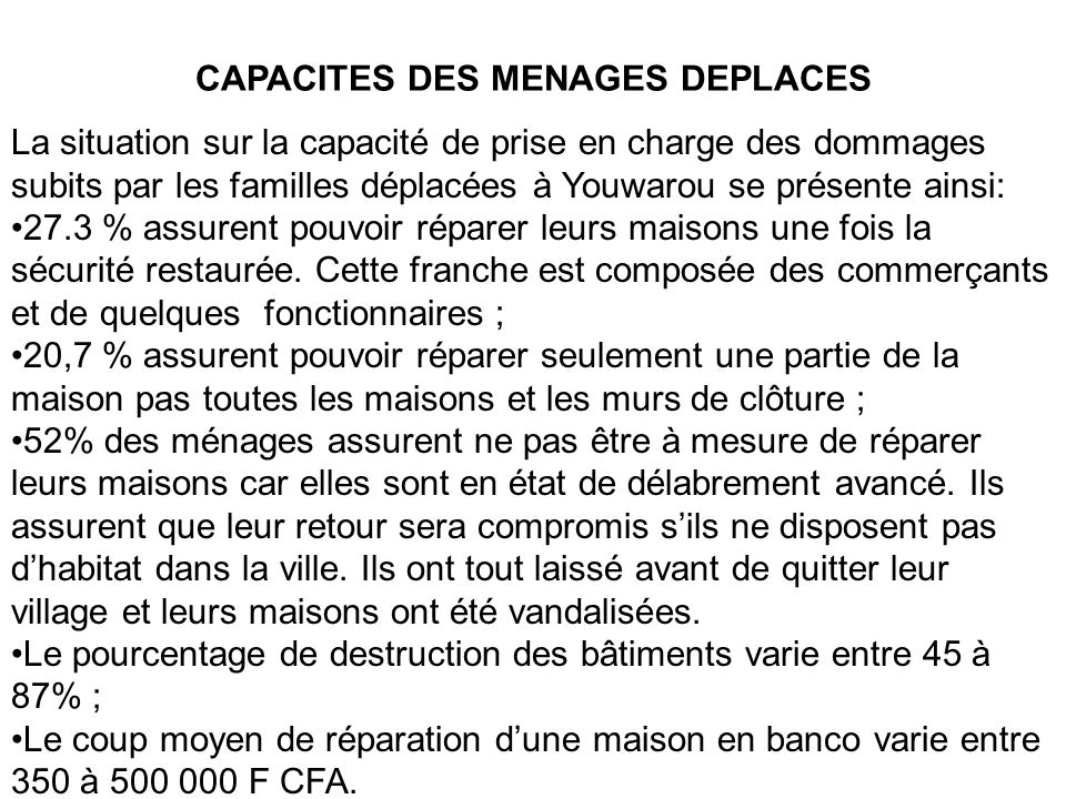 CAPACITES DES MENAGES DEPLACES