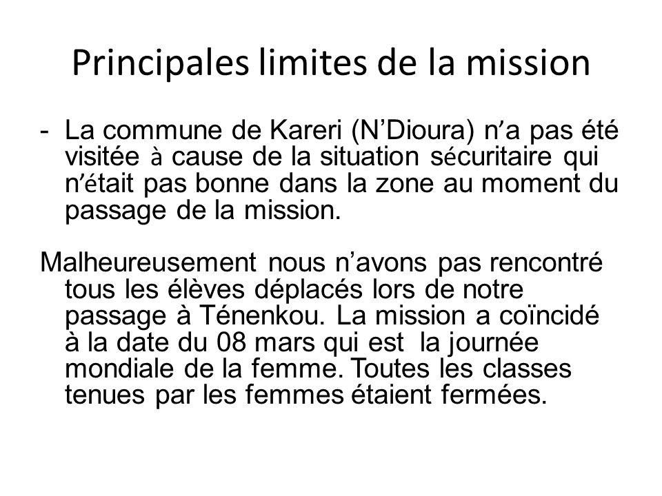 Principales limites de la mission