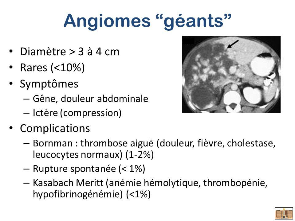 Angiomes géants Diamètre > 3 à 4 cm Rares (<10%) Symptômes