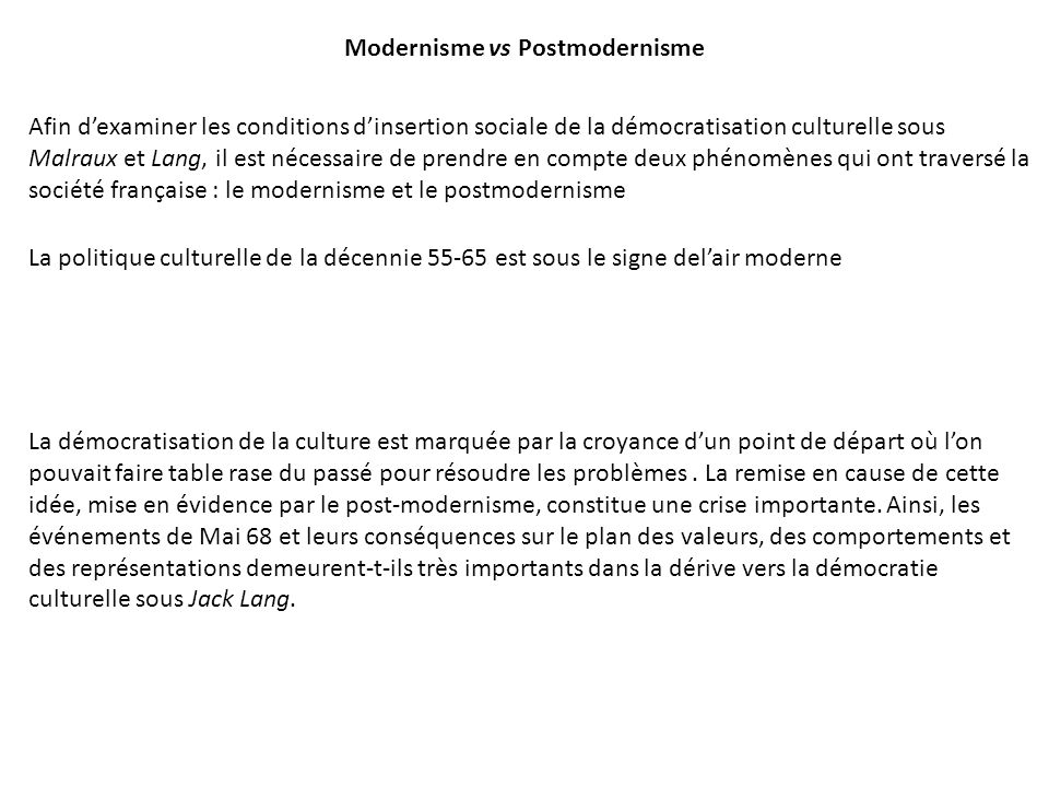 Modernisme vs Postmodernisme