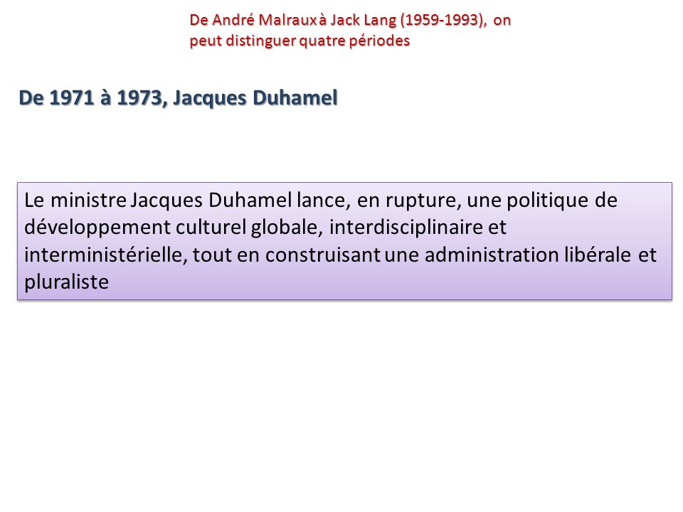 De André Malraux à Jack Lang (1959-1993), on peut distinguer quatre périodes