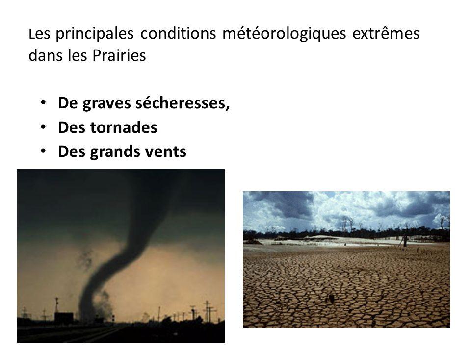 Les principales conditions météorologiques extrêmes dans les Prairies