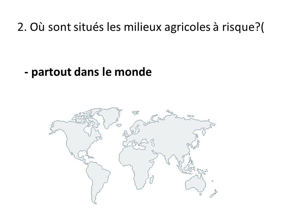 2. Où sont situés les milieux agricoles à risque (