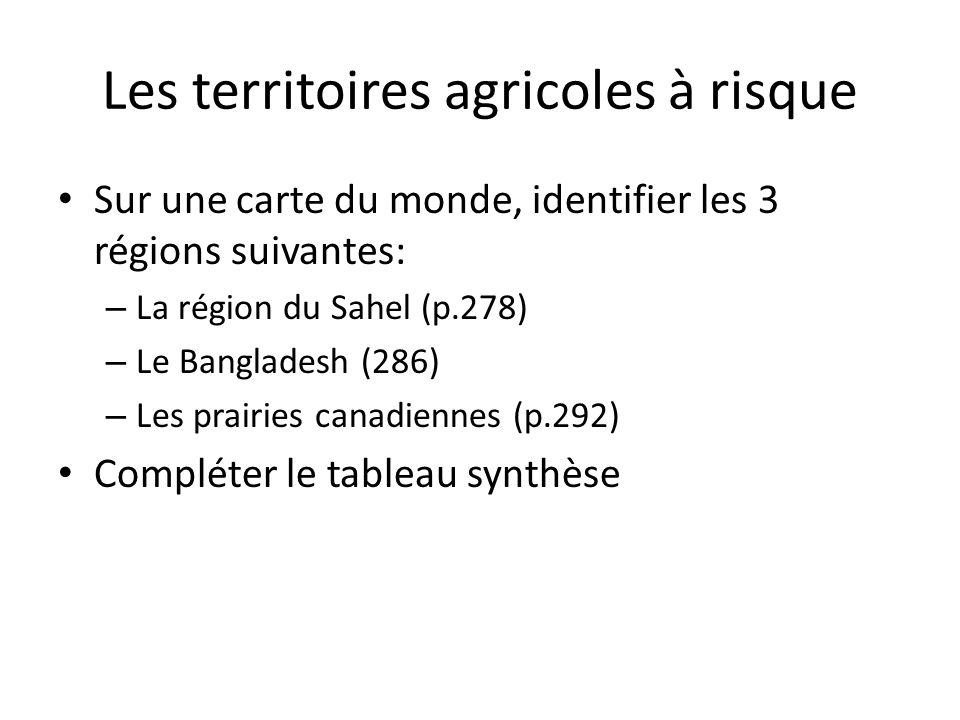 Les territoires agricoles à risque
