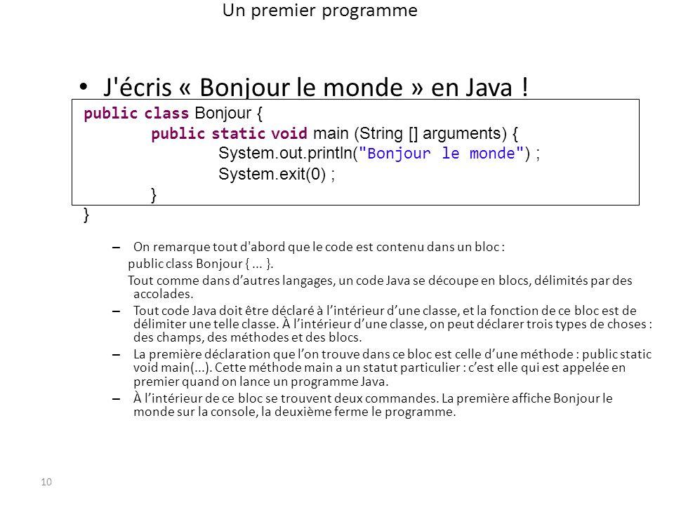 J écris « Bonjour le monde » en Java !