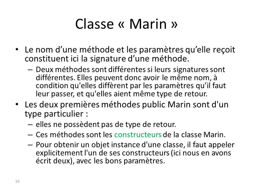 Classe « Marin » Le nom d'une méthode et les paramètres qu'elle reçoit constituent ici la signature d'une méthode.