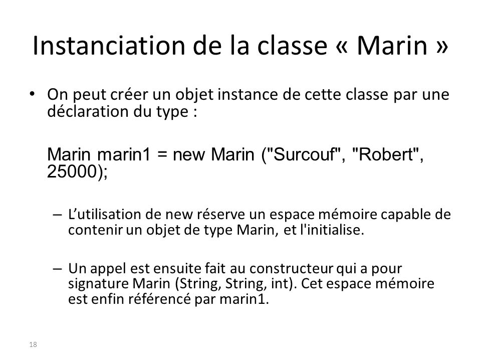 Instanciation de la classe « Marin »