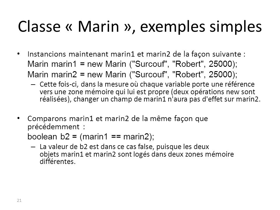Classe « Marin », exemples simples