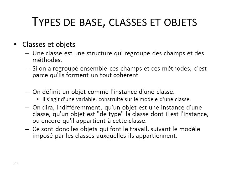 Types de base, classes et objets