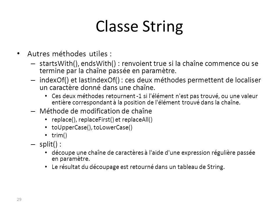 Classe String Autres méthodes utiles :