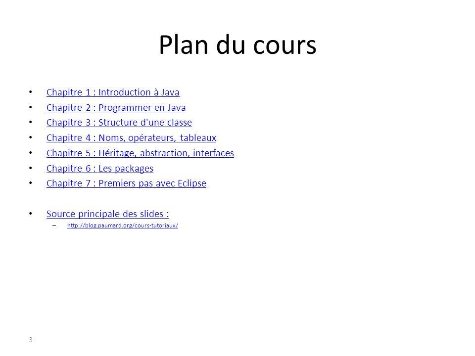 Plan du cours Chapitre 1 : Introduction à Java