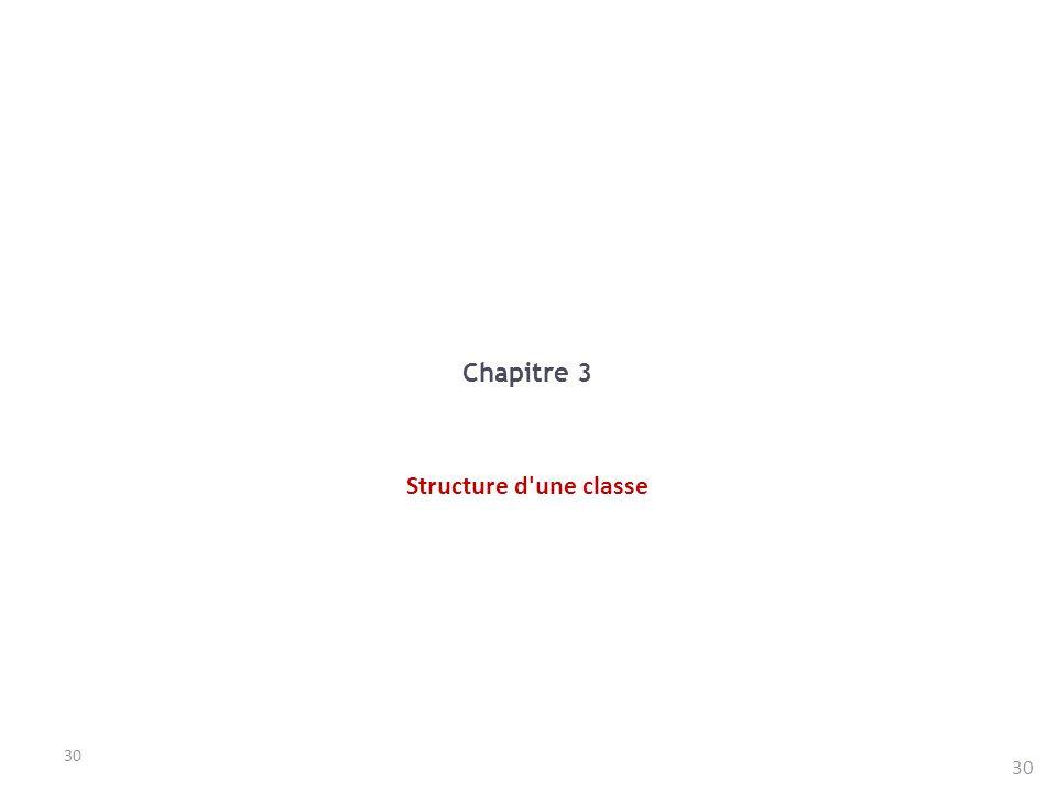 Chapitre 3 Structure d une classe 30