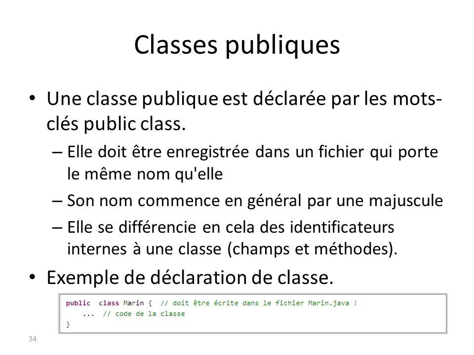 Classes publiques Une classe publique est déclarée par les mots-clés public class.