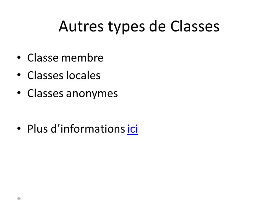 Autres types de Classes