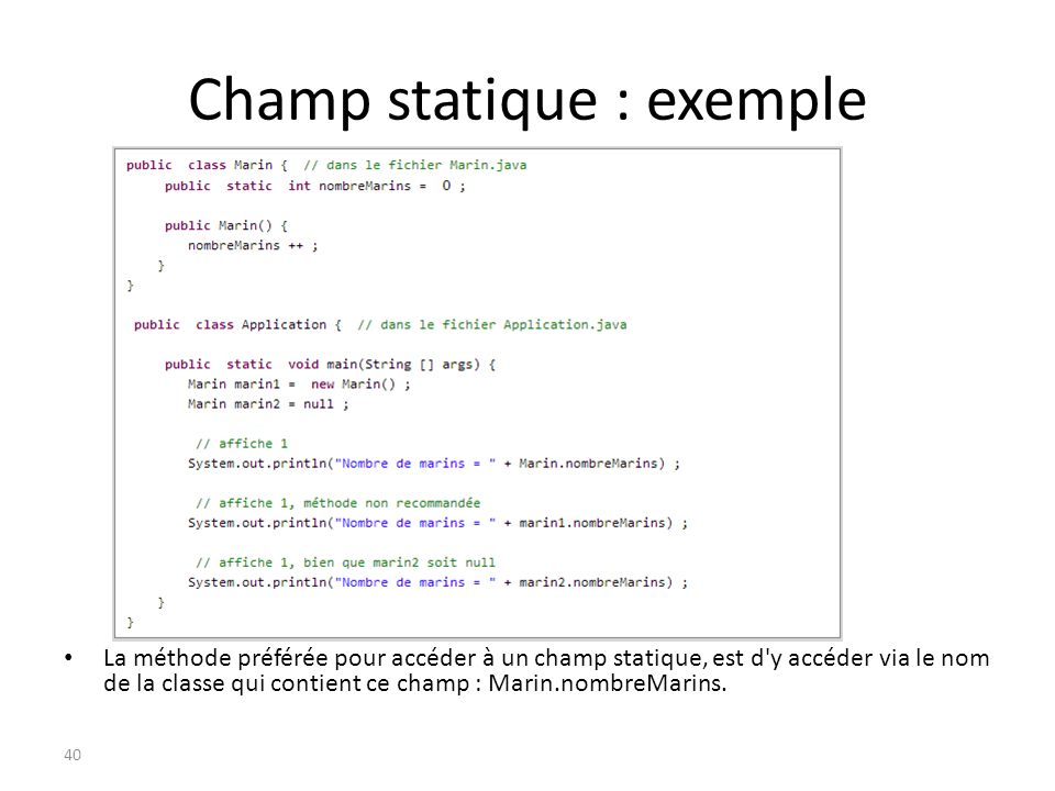 Champ statique : exemple