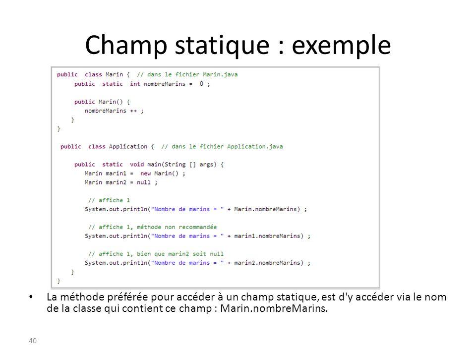 Champ statique : exemple