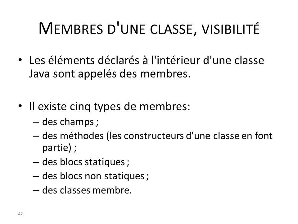 Membres d une classe, visibilité