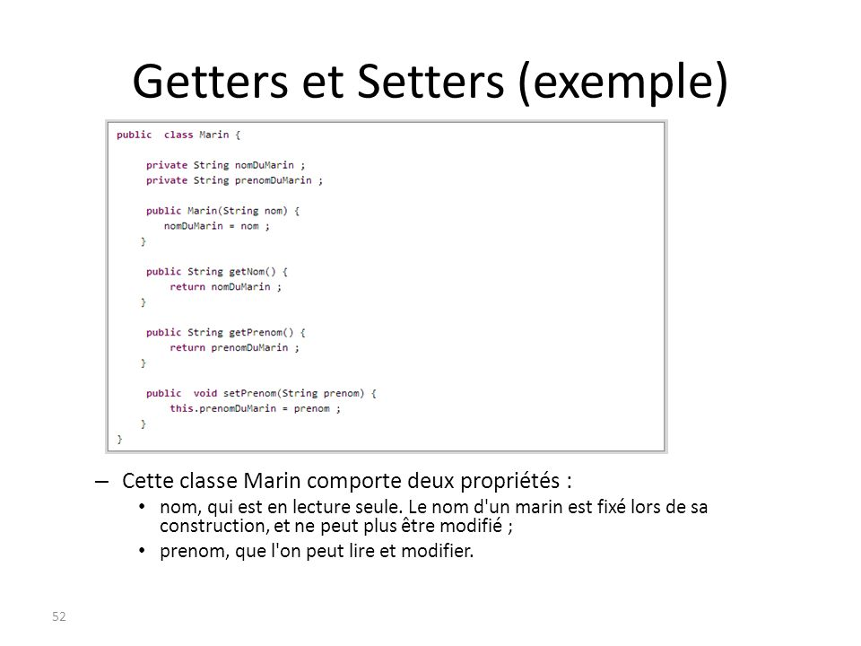 Getters et Setters (exemple)