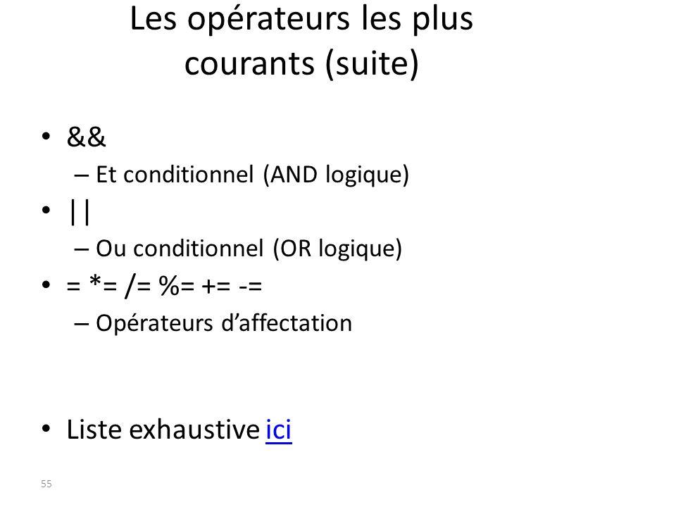Les opérateurs les plus courants (suite)