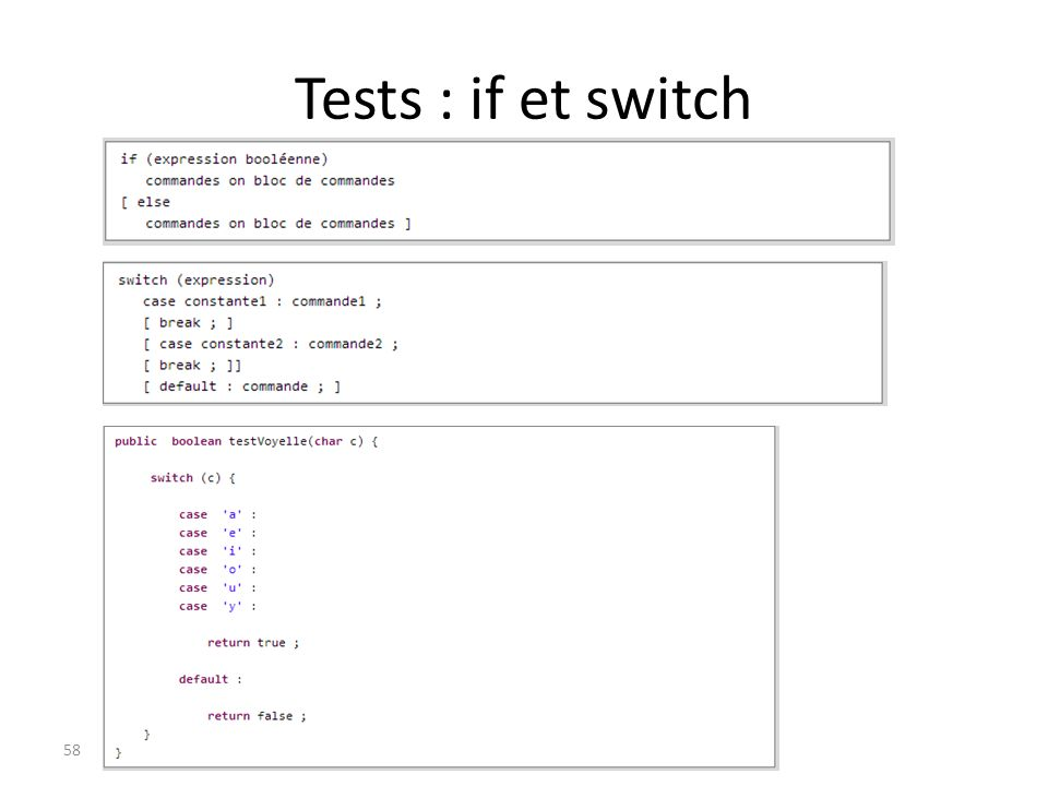Tests : if et switch