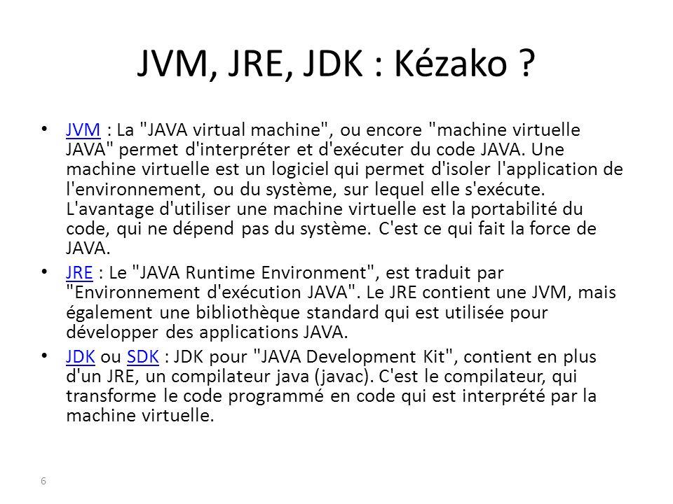 JVM, JRE, JDK : Kézako