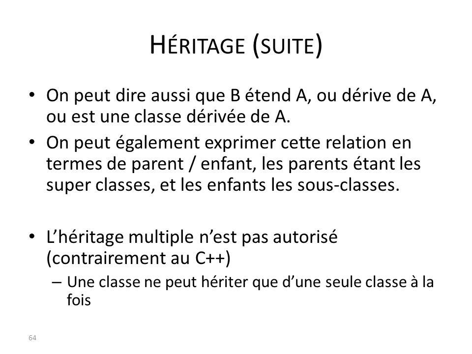 Héritage (suite) On peut dire aussi que B étend A, ou dérive de A, ou est une classe dérivée de A.