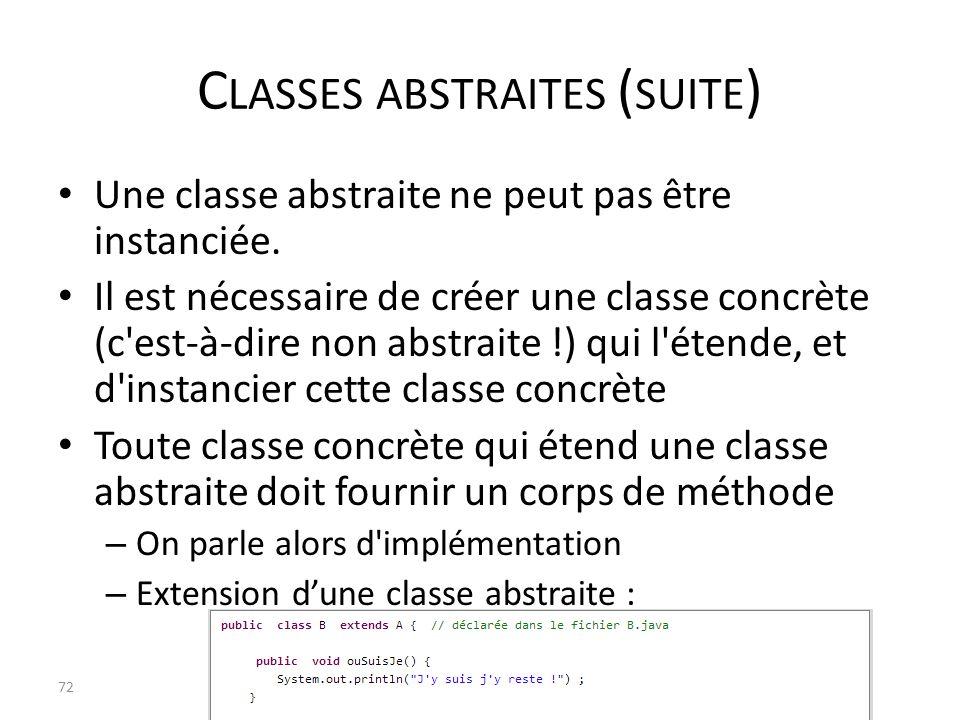Classes abstraites (suite)