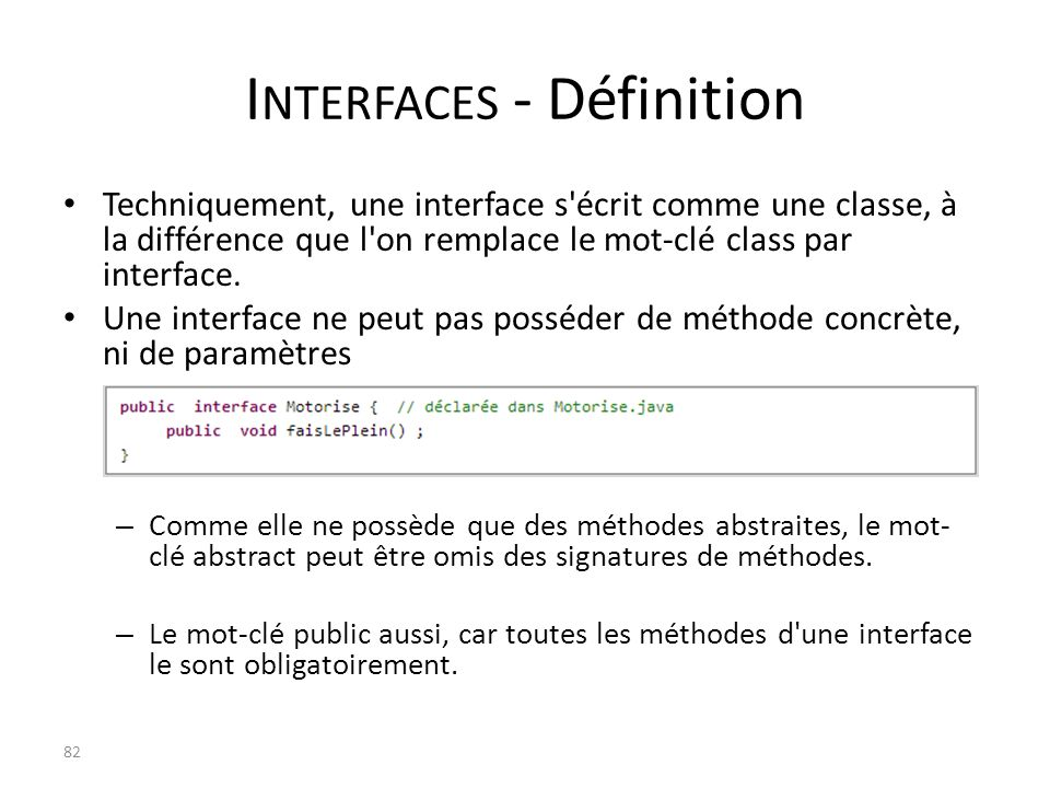 Interfaces - Définition