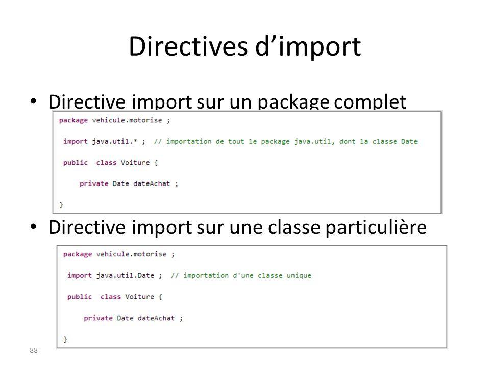 Directives d'import Directive import sur un package complet