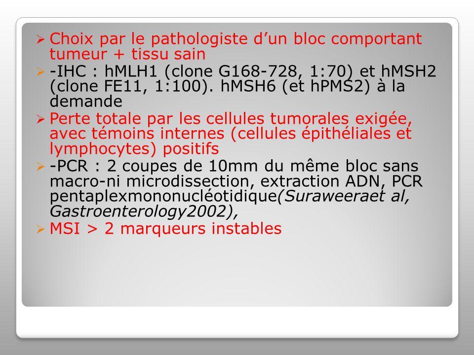 Choix par le pathologiste d'un bloc comportant tumeur + tissu sain