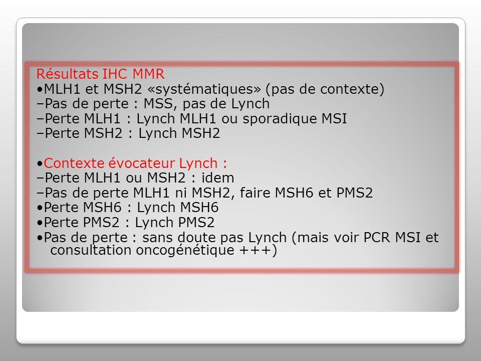 Résultats IHC MMR •MLH1 et MSH2 «systématiques» (pas de contexte) –Pas de perte : MSS, pas de Lynch.