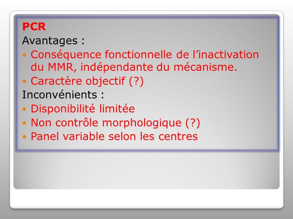 PCR Avantages : Conséquence fonctionnelle de l'inactivation du MMR, indépendante du mécanisme. Caractère objectif ( )
